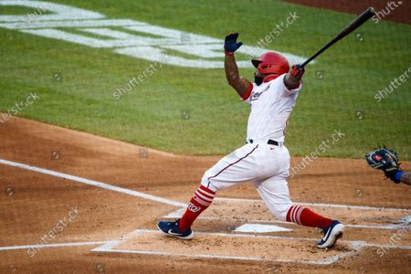 Washington Nationals designated hitter Howie Kendrick hits a home run against New York Mets starting pitcher Steven Matz during the MLB baseball game between the New York Mets and the Washington Nationals at Nationals Park in Washington, DC, USA, 04 August 2020.