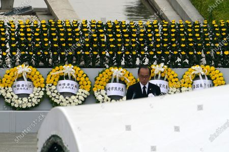 Hiroshima mayor Kazumi Matsui delivers a speech during a ceremony to mark the 75th anniversary of the bombing at the Hiroshima Peace Memorial Park, in Hiroshima, western Japan