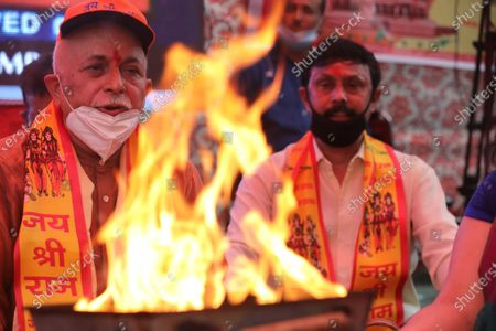 Editorial photo of Hindus celebrate Ayodhya's Rama temple foundation stone laying ceremony, in New Delhi, India - 05 Aug 2020