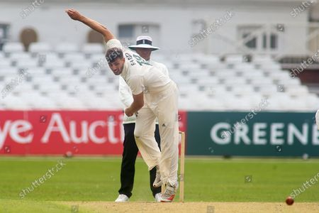 Tom Barber of Nottinghamshire bowling during the Bob Willis Trophy match between Nottinghamshire County Cricket Club and Derbyshire County Cricket Club at Trent Bridge, Nottingham