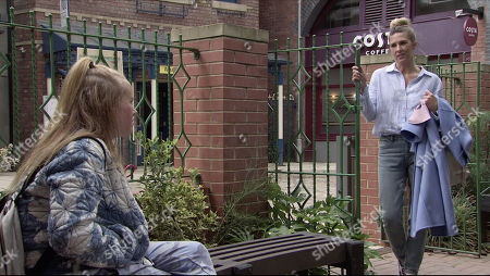 Coronation Street - Ep 10102 Monday 17th August 2020 Gemma Winter, as played by Dolly-Rose Campbell, meets up with Vanessa, as played by Rachael Elizabeth, and apologises for her Mum's behaviour.