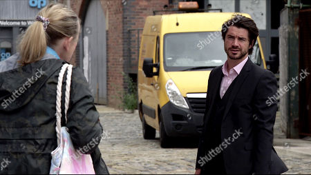 Stock Picture of Coronation Street - Ep 10099 Monday 10th August 2020 Adam Barlow, as played by Sam Robertson, is stunned to find out from Bernie Winter, as played by Jane Hazlegrove, that the watch had the name Rick engraved on the back and that she found it in the woods and that Gary seemed keen to get his hands on it.