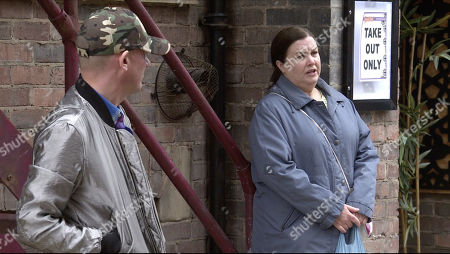 Coronation Street - Ep 10103 Wednesday 19th August 2020 Having planted a bag of fake cash in Victoria Garden, Mary Taylor, as played by Patti Clare, Sean Tully, as played by Antony Cotton, and Billy Mayhew watch with baited breath for Todd to turn up.