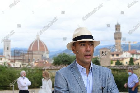 The artist Lorenzo Quinn during the presentation of his artwork ' Give ' to the Boboli Gardens