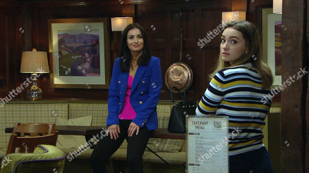 Emmerdale - Ep 8825 Friday 21st August 2020 Leyla Harding, as played by Rokhsaneh Ghawam-Shahidi, offers Gabby Thomas, as played by Rosie Bentham, an apprenticeship at Take a Vow, and Gabby, realizing Leyla's serious, feels touched.