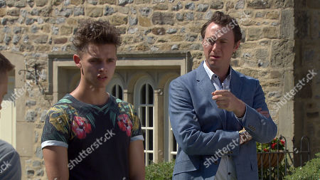Stock Photo of Emmerdale - Ep 8819 & 8820 Monday 10th August 2020 Gaz boasts he's on his way to meet a loose woman for a date and David panics to realise it's Leyla Harding. He's confused given she is back with Liam Cavanagh, as played by Jonny McPherson. Soon Jacob Gallagher, as played by Joe Warren Plant, and Liam are baffled to learn about this hook up and can only watch in shock as they see Gaz approach Leyla across the village.
