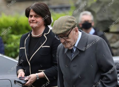 First Minster of Northern Ireland Arlene Foster attends former Northern Ireland lawmaker and Nobel Peace Prize winner John Hume's funeral Mass at St Eugene's Cathedral in Londonderry, Northern Ireland, . Hume was co-recipient of the 1998 Nobel Peace Prize with fellow Northern Ireland lawmaker David Trimble, for his work in the Peace Process in Northern Ireland