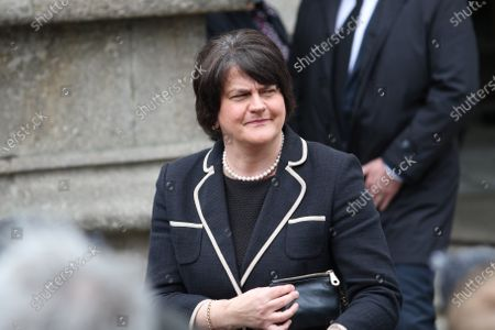 First Minister for Northern Ireland, Arlene Foster, MLA, attends the funeral of John Hume at St Eugene's Cathedral. Former SDLP leader and Nobel Prize laureate John Hume died aged 83 years old on 03 August 2020.