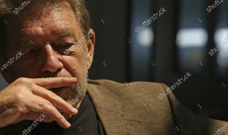 Pete Hamill responds during an interview at the Skylight Diner in New York. The longtime New York City newspaper columnist and author has died. His brother Denis Hamill said Pete died in Brooklyn