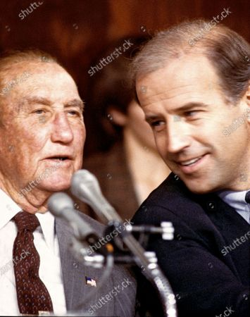 United States Senator J. Strom Thurmond (Republican of South Carolina), ranking member, U.S. Senate Judiciary Committee, left, and U.S. Senator Joseph Biden (Democrat of Delaware), Chairman, U.S. Senate Judiciary Committee, right, during the 9 -5 vote that rejected the nomination of Robert H. Bork as Associate Justice of the Supreme Court in Washington, D.C..