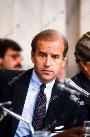 United States Senator Joseph Biden (Democrat of Delaware), Chairman, US Senate Committee on the Judiciary, makes remarks as he chairs the confirmation vote for Judge Robert Bork, US President Ronald Reagan's nominee to succeed Associate Justice of the Supreme Court Louis Powell on Capitol Hill in Washington, D.C..