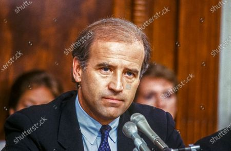 United States Senator Joseph Biden (Democrat of Delaware), Chairman, US Senate Committee on the Judiciary, chairs the confirmation vote for Judge Robert Bork, US President Ronald Reagan's nominee to succeed Associate Justice of the Supreme Court Louis Powell on Capitol Hill in Washington, D.C..