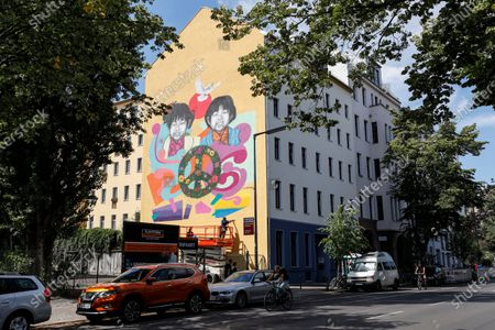 General view of the mural for the 75th anniversary of the atomic bombings of Hiroshima and Nagasaki by street artist Jesus Cruz Artiles, aka 'Eme Freethinker' in Berlin, Germany, 05 August 2020. Commissioned by Greenpeace the 10x10 meter mural stands for Peace and against nuclear weapons. On 06 August 1945 the first atomic bomb was dropped on the Japanese city of Hiroshima and three days later a second bomb hit Nagasaki. Over 200,000 people died in the attacks.