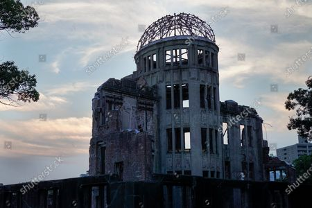 The Atomic Bomb Dome is seen at Peace Memorial Park in Hiroshima, western Japan, 05 August 2020. On 06 August 2020 Japan will mark the 75th anniversary of the bombing of Hiroshima. In 1945 the United States dropped two nuclear bombs over the cities of Hiroshima and Nagasaki on 06 and 09 August respectively, killing more than 200,000 people. This year's annual commemoration events were either canceled or scaled down amid the ongoing coronavirus pandemic.