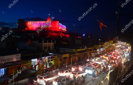 A view of the lit up city on the occasion of Bhumi Pujan of the Ram Temple on August 5, 2020 in Ayodhya, India. Prime Minister Narendra Modi said on Wednesday the construction of Ram temple will not only add to Ayodhya's grandeur but will also change the entire economy of the region after laying the foundation stone in accordance with the 'muhurat' or auspicious time.