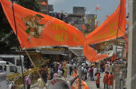 Saffron flags put up in the city on the day of the foundation laying of the Ram Temple on August 5, 2020 in Ayodhya, India. Prime Minister Narendra Modi said on Wednesday the construction of Ram temple will not only add to Ayodhya's grandeur but will also change the entire economy of the region after laying the foundation stone in accordance with the 'muhurat' or auspicious time.