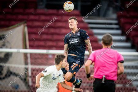 Istanbul Basaksehir's Martin Skrtel (top) in action during the UEFA Europa League Round of 16, second leg soccer match between FC Copenhagen and Istanbul Basaksehir at Parken Stadium in Copenhagen, Denmark, 05 August 2020.