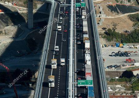 Editorial photo of Traffic rolls on new Genoa-Saint George viaduct, Genova, Italy - 05 Aug 2020