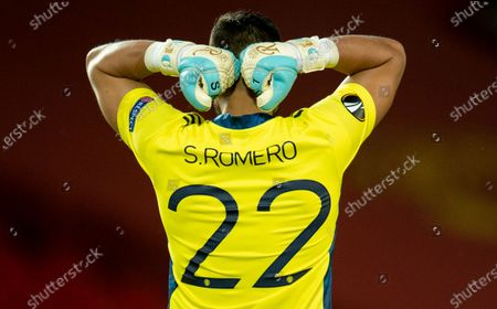 Manchester United's goalkeeper Sergio Romero reacts during the UEFA Europa League round of 16 second leg soccer match between Manchester United and Linz held at Old Trafford in Manchester, Britain, 05 August 2020.