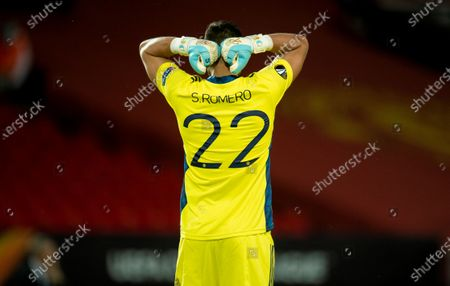 Stock Picture of Manchester United's goalkeeper Sergio Romero reacts during the UEFA Europa League round of 16 second leg soccer match between Manchester United and Linz held at Old Trafford in Manchester, Britain, 05 August 2020.