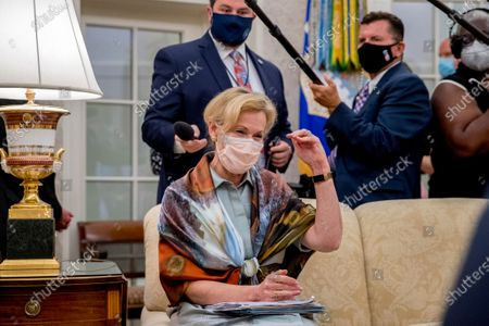 Dr. Deborah Birx, White House coronavirus response coordinator, gestures about lowering the curve as she speaks during a meeting with President Donald Trump and Arizona Gov. Doug Ducey in the Oval Office of the White House in Washington