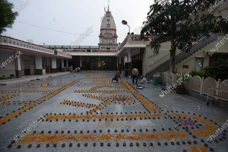 Rangoli made at Shri Ram Temple on the occasion of the foundation laying ceremony of Ram temple in Ayodhya, at Sector-4, near MM Public School on August 5, 2020 in Gurugram, India. The grand celebrations for the bhoomi pujan started at 8 am and Prime Minister Narendra Modi performed the Ayodhya Ram Mandir bhoomi pujan at the auspicious time of 12:40 pm.