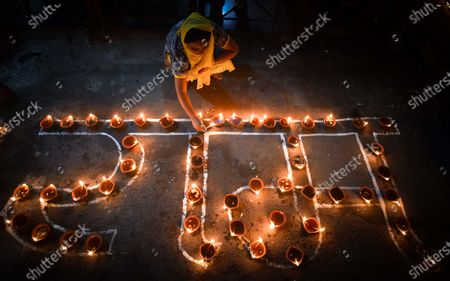 Earthen lamps lit to celebrate the foundation laying ceremony of the Ram temple in Ayodhya, at Moti Nagar  on August 5, 2020 in New Delhi, India. The grand celebrations for the bhoomi pujan started at 8 am and Prime Minister Narendra Modi performed the Ayodhya Ram Mandir bhoomi pujan at the auspicious time of 12:40 pm.