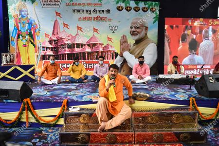 Manoj Tiwari, Member of Parliament addressing a gathering during a live telecast of Bhoomi Pujan of Ram Temple in Ayodhya, at his residence on August 5, 2020 in New Delhi, India. The grand celebrations for the bhoomi pujan started at 8 am and Prime Minister Narendra Modi performed the Ayodhya Ram Mandir bhoomi pujan at the auspicious time of 12:40 pm.