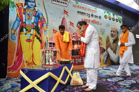 Manoj Tiwari, Member of Parliament performs rituals to commemorate the Bhoomi Pujan of Ram Temple in Ayodhya, at his residence on August 5, 2020 in New Delhi, India. The grand celebrations for the bhoomi pujan started at 8 am and Prime Minister Narendra Modi performed the Ayodhya Ram Mandir bhoomi pujan at the auspicious time of 12:40 pm.