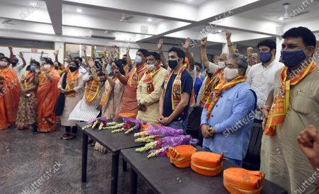 BJP MP Gautam Gambhir, BJP Rajya Sabha MP Dushyant Gautam and East Delhi Municipal Mayor Nirmal Jain celebrate the foundation laying ceremony of the Ram Temple in Ayodhya, at Ram Mandir, Vivek Vihar on August 5, 2020 in New Delhi, India. The grand celebrations for the bhoomi pujan started at 8 am and Prime Minister Narendra Modi performed the Ayodhya Ram Mandir bhoomi pujan at the auspicious time of 12:40 pm.