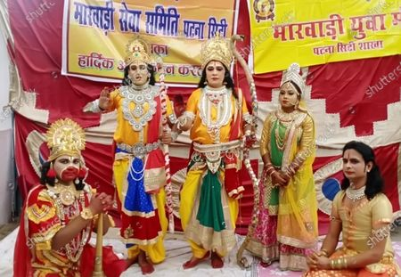 People in mythological costumes take apart in a 'shobha yatra' as part of celebrations over the foundation laying in Ayodhya of the Ram Temple on August 5, 2020 in Patna, India. The grand celebrations for the bhoomi pujan started at 8 am and Prime Minister Narendra Modi performed the Ayodhya Ram Mandir bhoomi pujan at the auspicious time of 12:40 pm.
