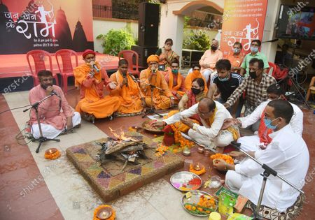 People perform a havan ritual celebrating the foundation laying in Ayodhya of the Ram Temple, at Dadijee Mandir Lane  on August 5, 2020 in Patna, India. The grand celebrations for the bhoomi pujan started at 8 am and Prime Minister Narendra Modi performed the Ayodhya Ram Mandir bhoomi pujan at the auspicious time of 12:40 pm.