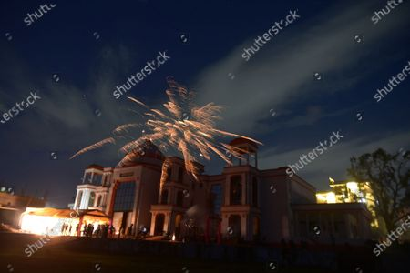 Fireworks seen in the sky to celebrate the Bhoomi Pujan of Ayodhya's Ram Temple, at Ram Bhawan near Ram Lila Ground on August 5, 2020 in  Lucknow, India. The grand celebrations for the bhoomi pujan started at 8 am and Prime Minister Narendra Modi performed the Ayodhya Ram Mandir bhoomi pujan at the auspicious time of 12:40 pm.