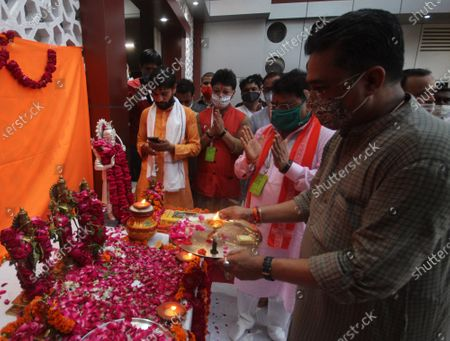BJP workers offer prayers infront of Lord Ram's idol to celebrate the Bhoomi Pujan of Ayodhya's Ram Temple, at BJP Office on August 5, 2020 in  Lucknow, India. The grand celebrations for the bhoomi pujan started at 8 am and Prime Minister Narendra Modi performed the Ayodhya Ram Mandir bhoomi pujan at the auspicious time of 12:40 pm.