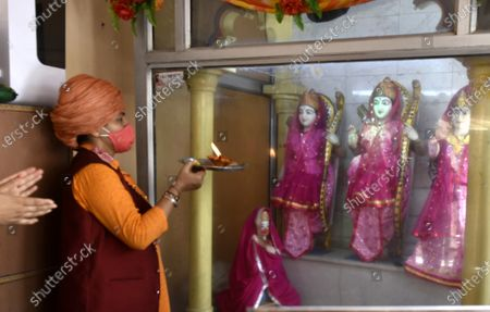 Mahant Divyagiri performing an aarti of Lord Ram on the occasion of Ayodhya Ram Temple Bhumi Pujan, at Mankameshwar Temple on August 5, 2020 in  Lucknow, India. The grand celebrations for the bhoomi pujan started at 8 am and Prime Minister Narendra Modi performed the Ayodhya Ram Mandir bhoomi pujan at the auspicious time of 12:40 pm.