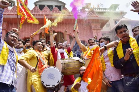 Activists of Bharatiya Janata Yuva Morcha (BJYM) dance while celebrating the temple foundation laying ceremony happening in Ayodhya on August 5, 2020 in Amritsar, India. The grand celebrations for the bhoomi pujan started at 8 am and Prime Minister Narendra Modi performed the Ayodhya Ram Mandir bhoomi pujan at the auspicious time of 12:40 pm.