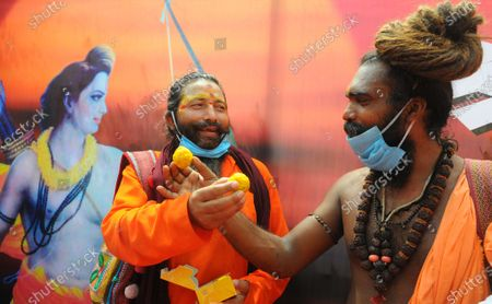 Sadhus celebrating during a mahayagya on the occasion of the foundation laying of the Ram Temple in Ayodhya, at BJP office KamlamSector 33 on August 5, 2020 in Chandigarh, India. The grand celebrations for the bhoomi pujan started at 8 am and Prime Minister Narendra Modi performed the Ayodhya Ram Mandir bhoomi pujan at the auspicious time of 12:40 pm.