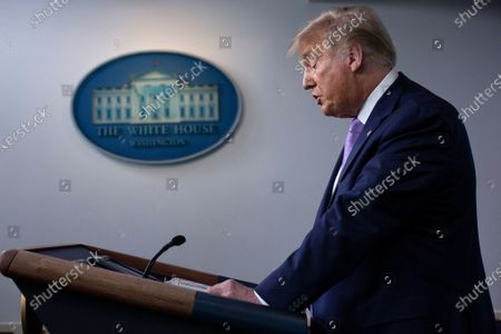 US President Donald J. Trump speaks during a news conference in the James S. Brady Press Briefing Room at the White House in Washington, DC, USA, 05 August 2020. President Trump discussed progress being made on negotiations over the next coronavirus relief package.