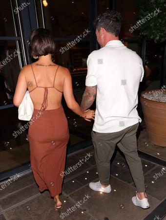 Stock Photo of Frankie Bridge and Wayne Bridge arriving at Sexy Fish for Wayne's 40th birthday