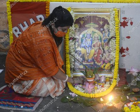 Bharatiya Janta Party or BJP activists worship Lord Ram at their local party office on the occasion of Ram Janmabhoomi bhomipujan at Ayodhya.