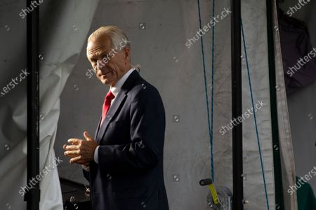 Stock Image of Peter Navarro, Director of Trade and Industrial Policy and Director of the White House National Trade Council prepares to speak during a television interview outside the White House in Washington D.C., U.S.,.