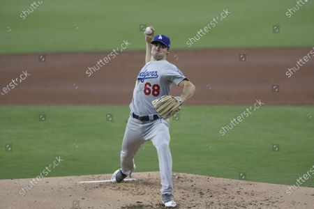 Los Angeles Dodgers starting pitcher Ross Stripling works against a San Diego Padres batter during the second inning of a baseball game, in San Diego