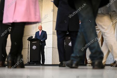 Australian Minister for Home Affairs Peter Dutton, attends a press conference at Parliament House in Canberra, Australia, 06 August 2020. Morrison announced an increase in federal spending on cybersecurity to 1.197 billion US dollars (1.664 billion Australian dollars) over the next decade.