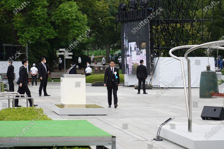 Japan's Prime Minister, Abe Shinzo at the the Hiroshima Peace Memorial Ceremony. Hiroshima marks the 75th anniversary of the U.S. atomic bombing which killed about 150,000 people and destroyed the entire city during World War II.