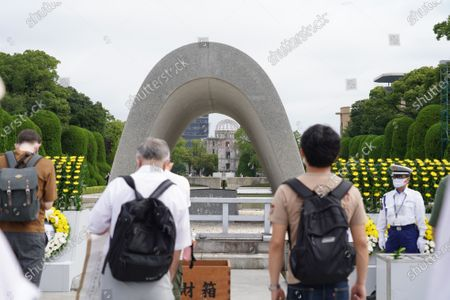 People praying at the Hiroshima Peace Memorial Ceremony. Hiroshima marks the 75th anniversary of the U.S. atomic bombing which killed about 150,000 people and destroyed the entire city during World War II.