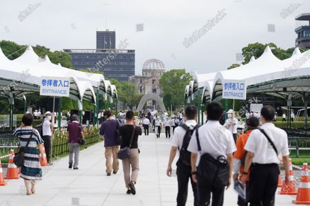 People at the Hiroshima Peace Memorial Ceremony. Hiroshima marks the 75th anniversary of the U.S. atomic bombing which killed about 150,000 people and destroyed the entire city during World War II.