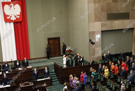 Poland's left-wing lawmakers dressed in rainbow colors to show support for the LGBT community during the ceremony of swearing in of President Andrzej Duda for a second term, in Warsaw, Poland, on . During his campaign Duda made statements hostile to LGBT community. Many of Poland's former leaders abstained from the ceremony to show disapproval for his first term policies
