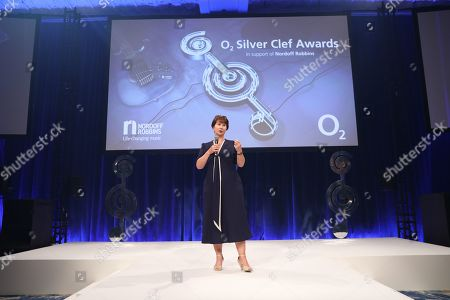 Julie Whelan on stage during The Nordoff Robbins O2 Silver Clef Awards 2018.