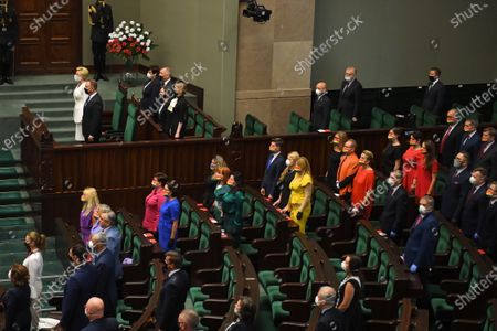 Opposition MPs wear outfits in rainbow colors during the swearing-in ceremony before the National Assembly of the Republic of Poland, a joint session of the Sejm (lower house) and Senate in Warsaw, Poland, 06 August 2020. President Andrzej Duda will start a second term after winning the presidential election held on 12 July, in which he defeated Rafal Trzaskowski, the candidate of the Civic Coalition.