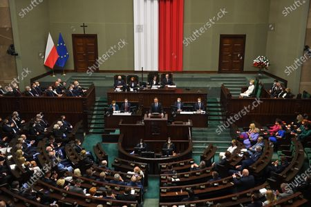 President of the Republic of Poland, Andrzej Duda (C), delivers a speech during the swearing-in ceremony before the National Assembly of the Republic of Poland, a joint session of the Sejm (lower house) and Senate in Warsaw, Poland, 06 August 2020. President Andrzej Duda will start a second term after winning the presidential election held on 12 July, in which he defeated Rafal Trzaskowski, the candidate of the Civic Coalition.